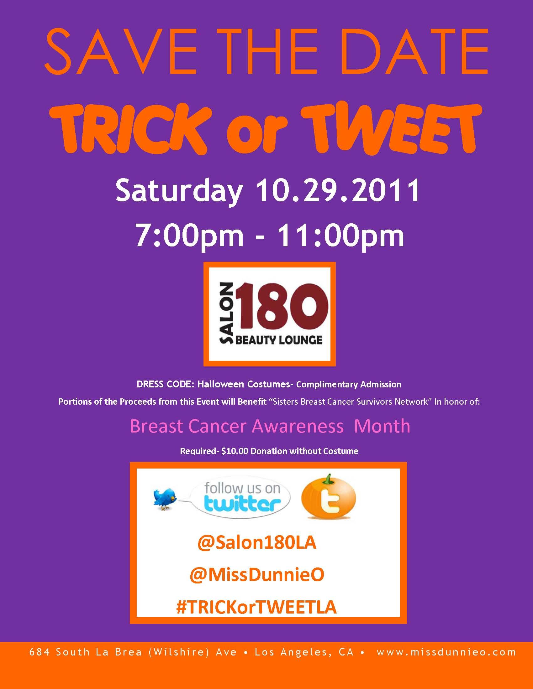 TRICKorTweetLA at Salon 180 in Los Angeles Saturday! (Come